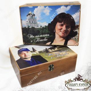 Шкатулка из дуба с видом Пскова и Вашим фотоПсков
