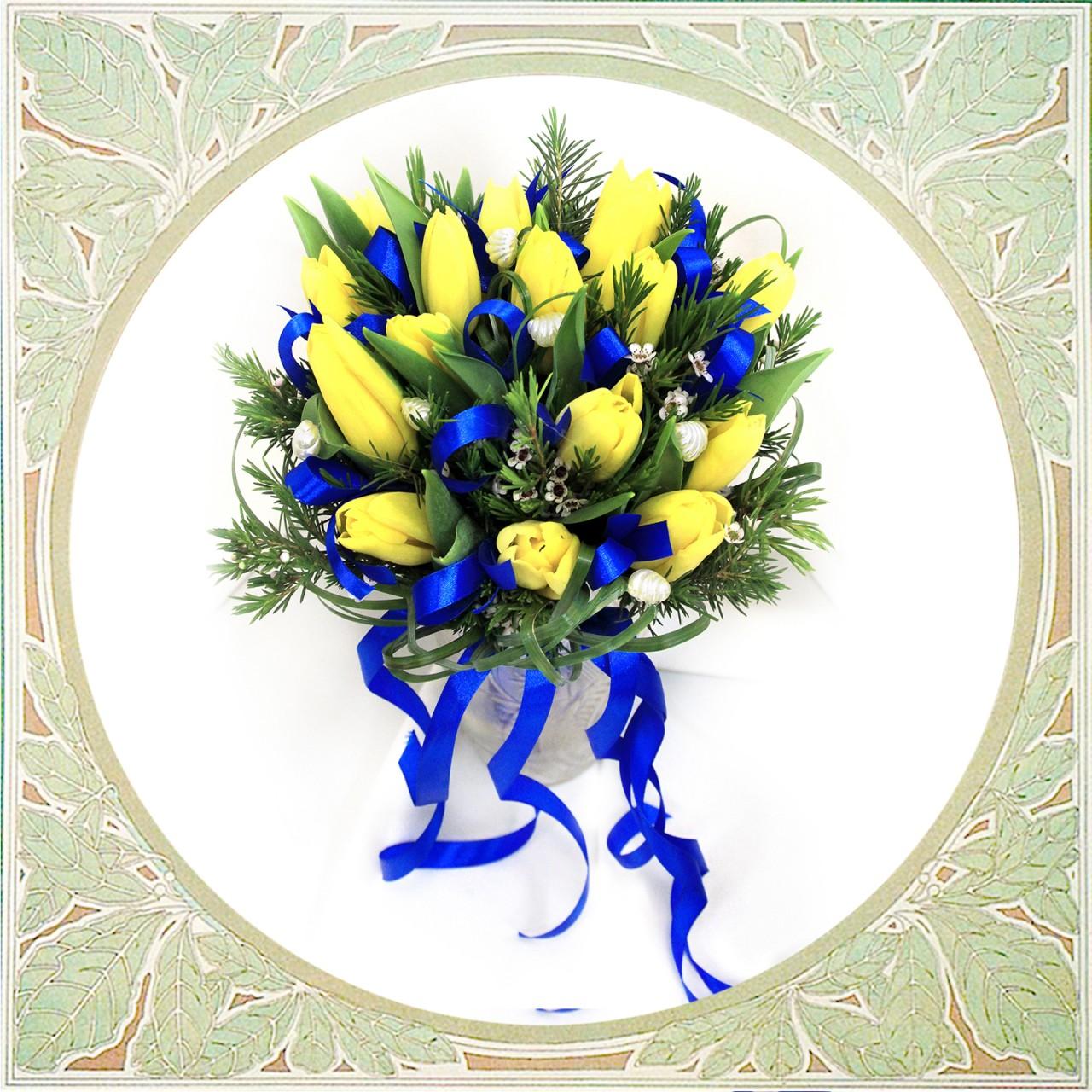 Букет из тюльпанов с доставкой в Пскове Открытка