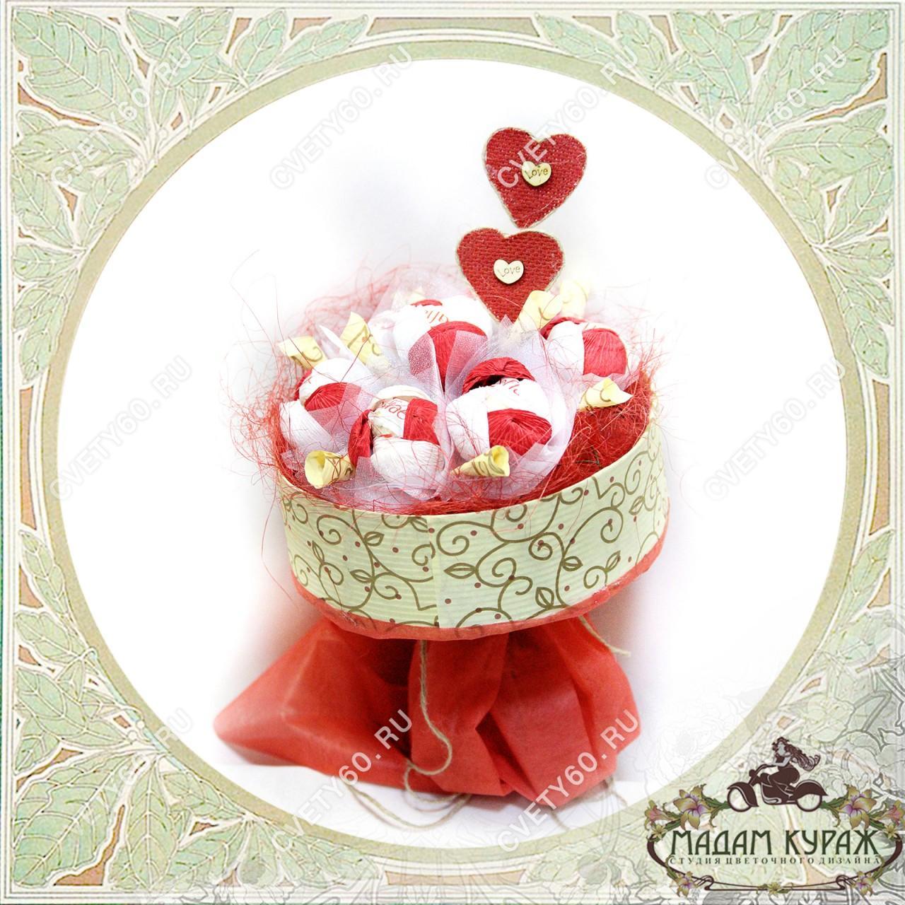 Букет из конфет к Дню Влюбленных в Пскове Открытка
