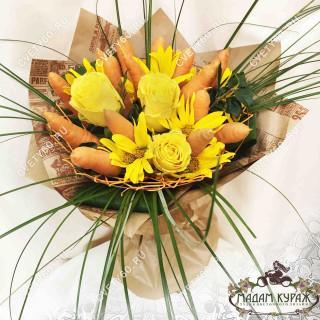 Букет из роз и овощей - Оригинальные букеты в Пскове