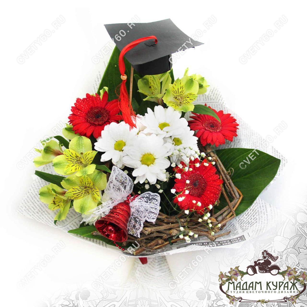 Букет для учителя  из гербер и хризантем