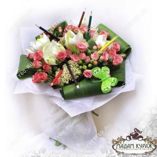 Букет с амариллисом и розами  в Пскове в Пскове