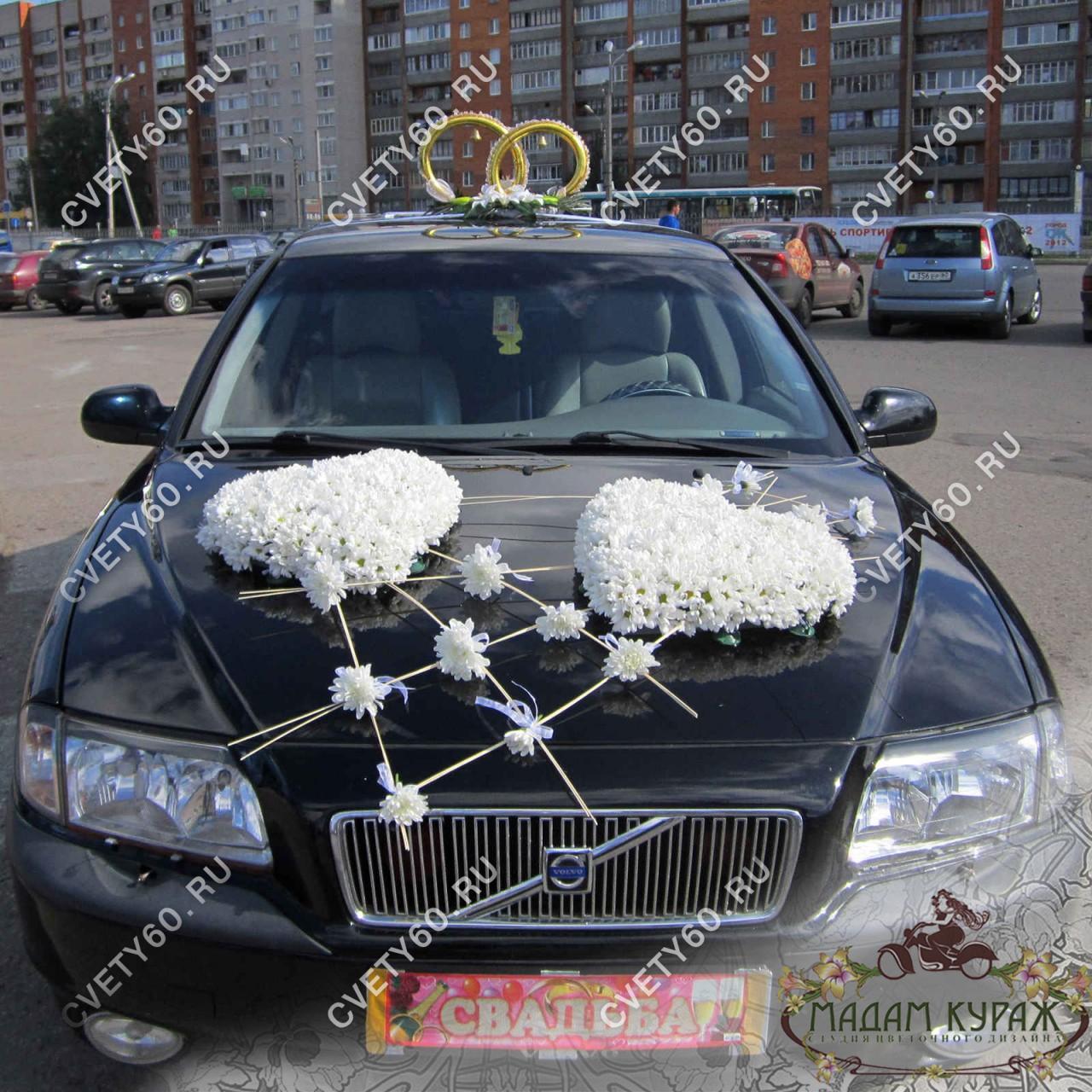 Украшение машины к свадьбе в Пскове