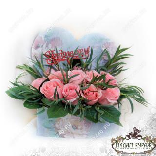 Розовые розы в коробке -сердце в Пскове