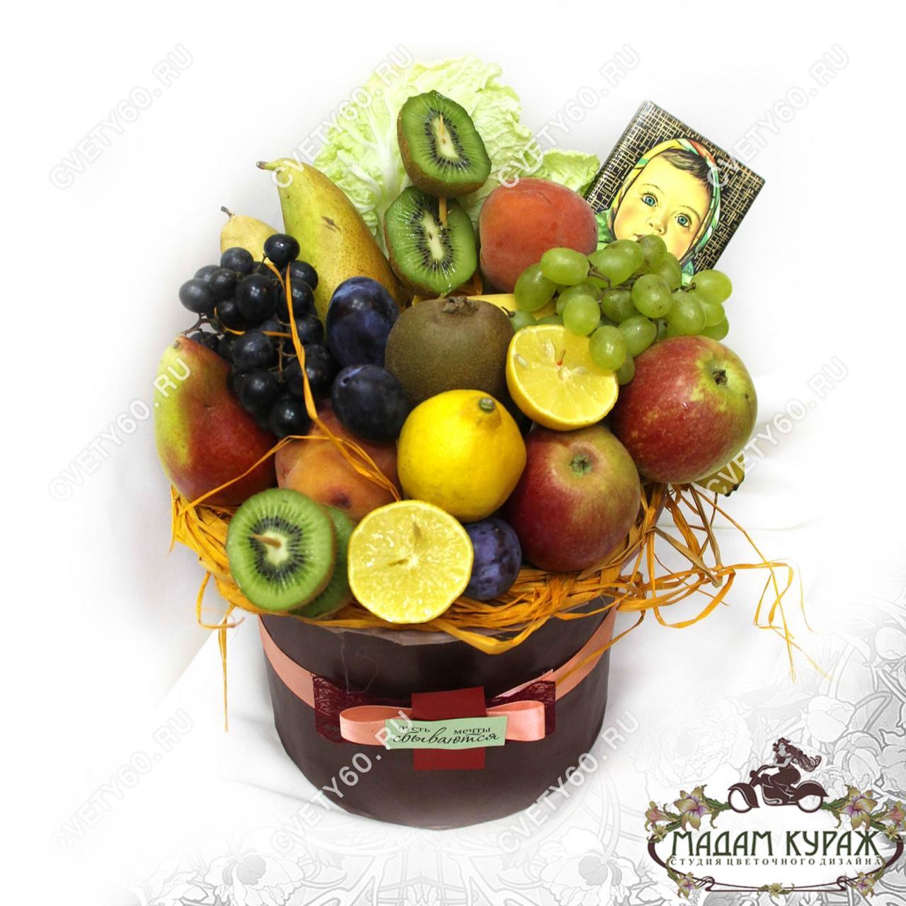Композиции с цветами и фруктами фото