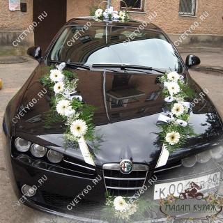 Украшение свадебного автомобиля живыми цветами в Пскове Псков