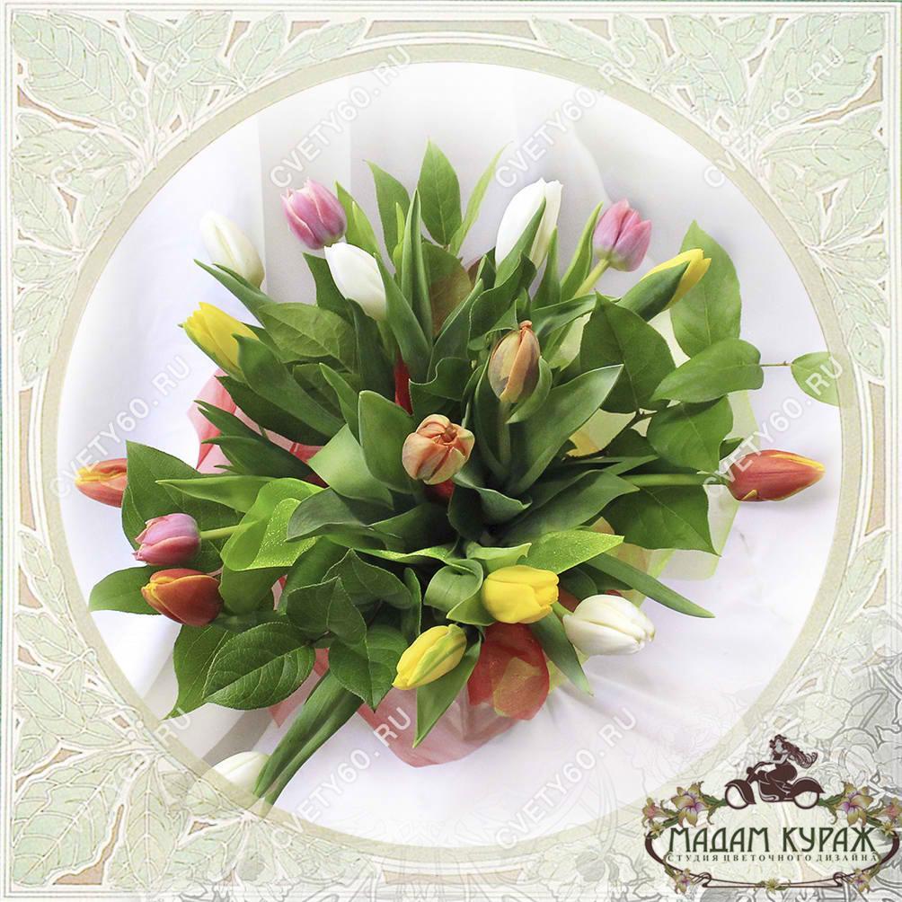 Букет из тюльпанов в Пскове.Открытка