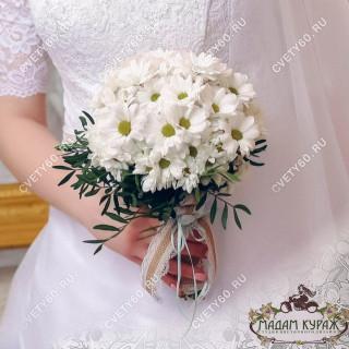 Недорогой свадебный букет из хризантемыПсков