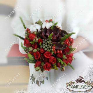 Букет невесты в красных тонах Псков