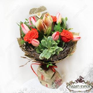 Букет для любимой из розочек, тюльпанов и амариллисаПсков