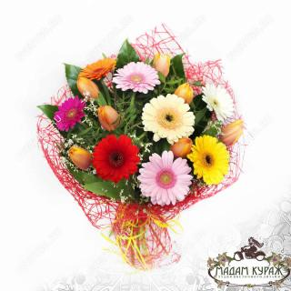 Букет из гербер и тюльпанов в Пскове