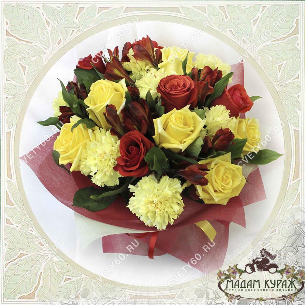 Букет из роз с доставкой в Пскове Открытка