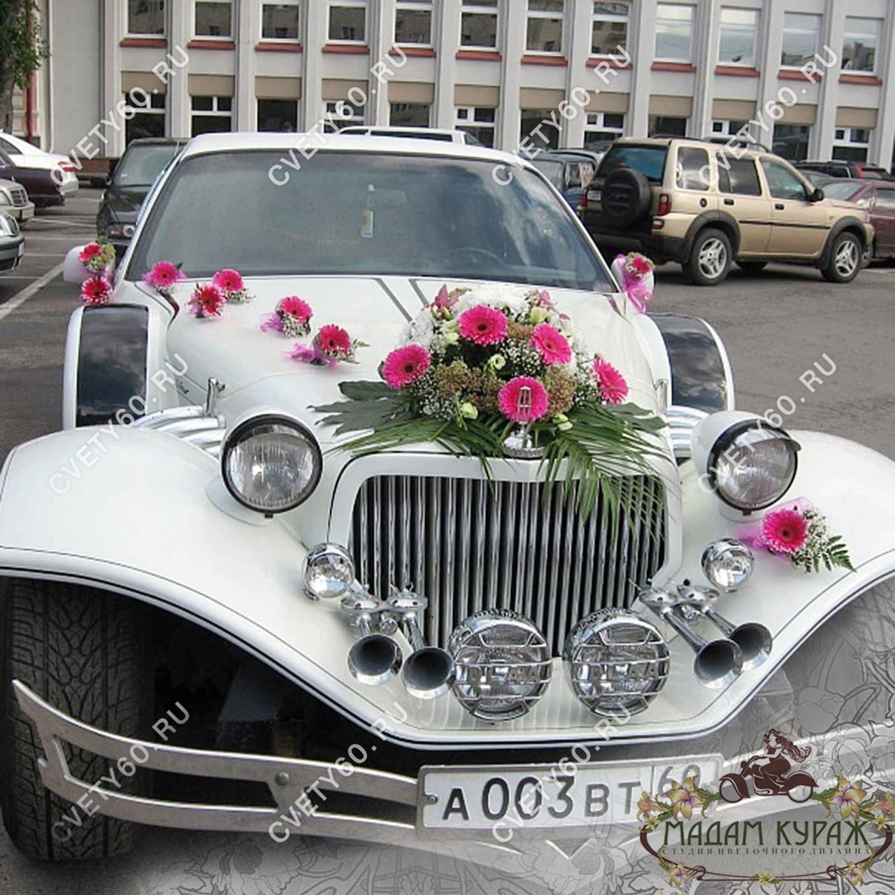 Оформление свадебной машины в ретро-стиле в Пскове