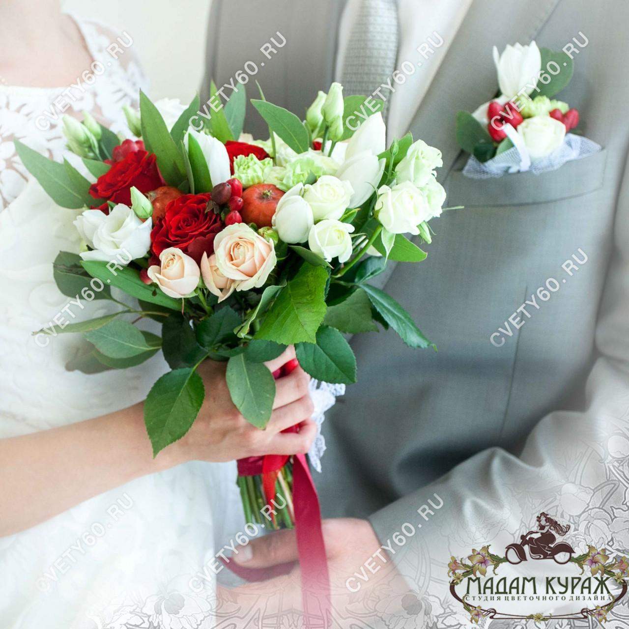 Букеты невест и бутоньерки для жениха в Пскове заказать в интернет магазине cvety60.ru