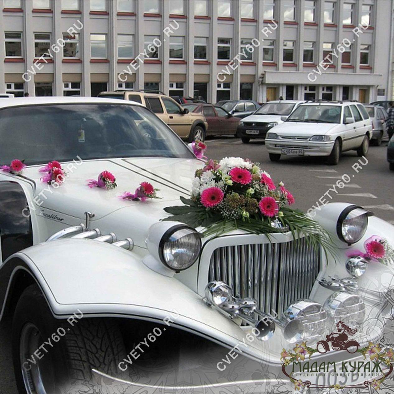 Эффектное украшение свадебного автомобиля в Пскове