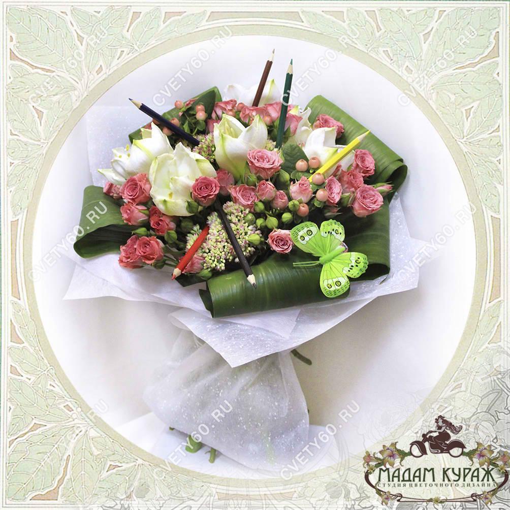 Букет с амариллисом и розами Открытка