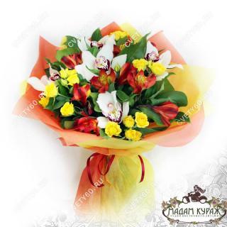 Букет из орхидей и альстремерий