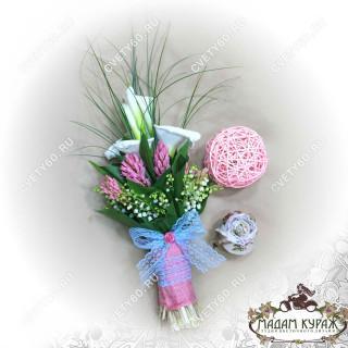 Свадебный букет из калл и гиацинтов в Пскове заказать в интернет магазине cvety60.ru
