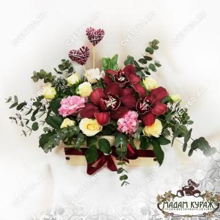 Композиция с прекрасными орхидеями на День Влюбленных с доставкой в ПсковеПсков