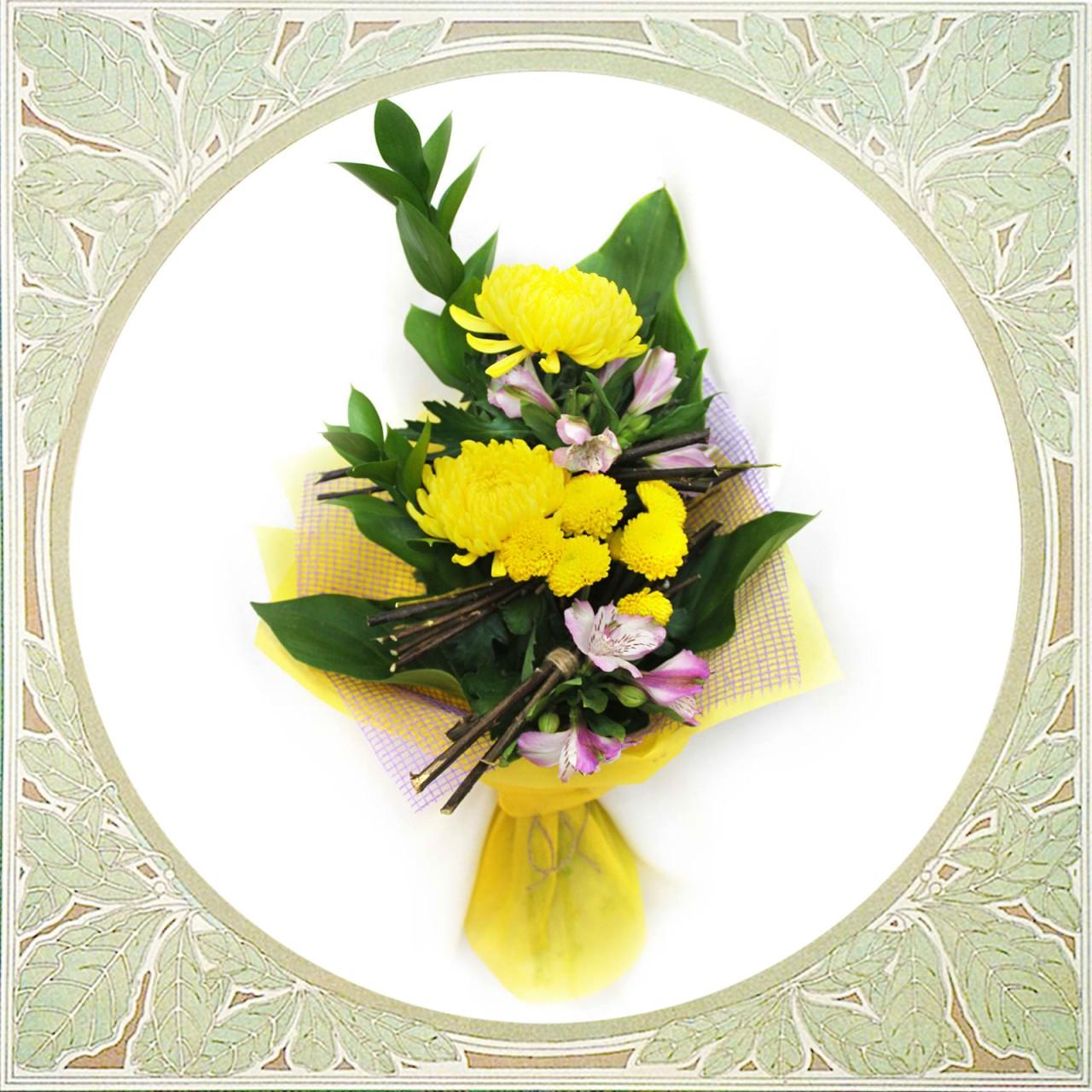 Букет из хризантемы и альстромерии в Пскове Открытка