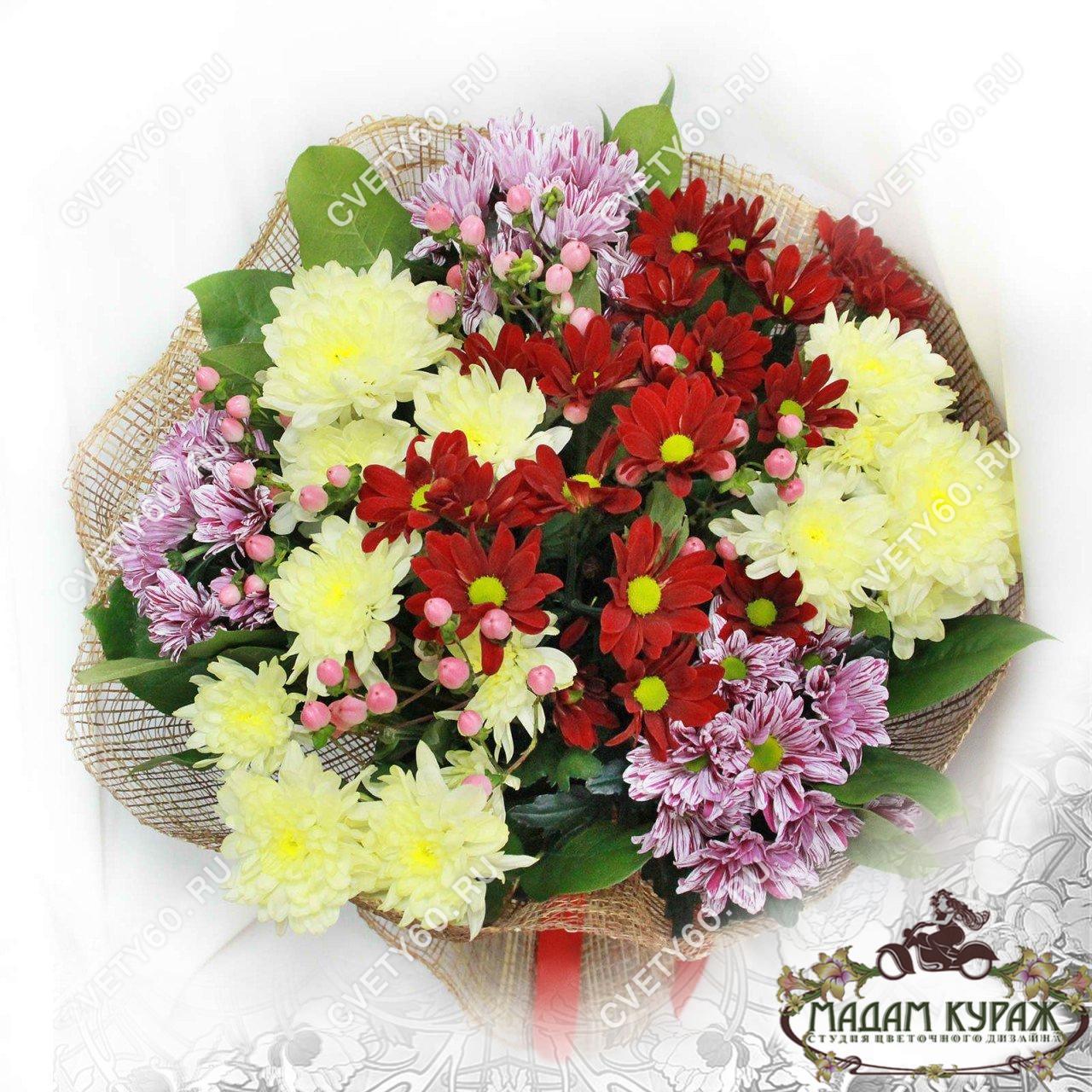Букет из хризантем в Пскове