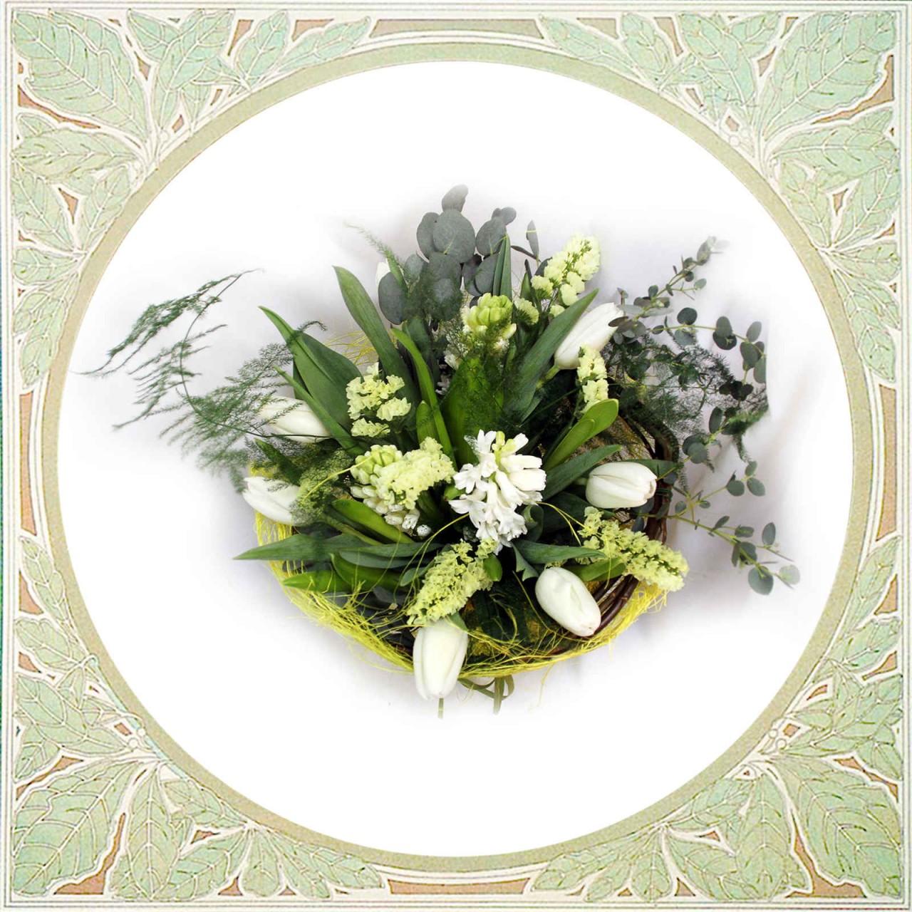 Нежный букет из тюльпанов и гиацинтов в Пскове  Открытка